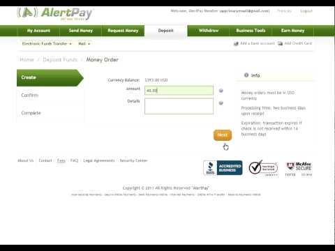How to make a Money Order Deposit with AlertPay