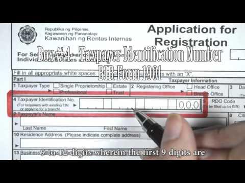 Box#4 - Taxpayer Identification Number, BIR Form 1901
