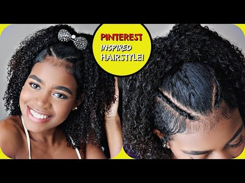 EASY PINTEREST Inspired Hairstyle for Naturally Curly Hair (CUTE FOR HOMECOMING)!