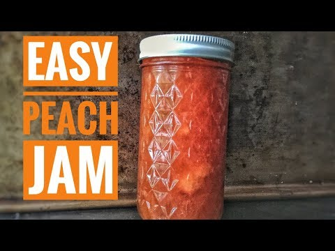 PEACH JAM - Easy Homemade NO PECTIN Peach Jam Recipe - Preserving Peaches