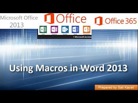 Macros in Word 2016, 2013, 2010, 2007 - Recording Macros