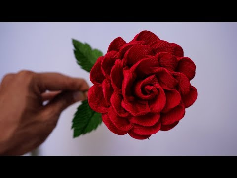 How to make Roses - Handmade Crepe Paper Rose (Easy Roses Paper Flowers)