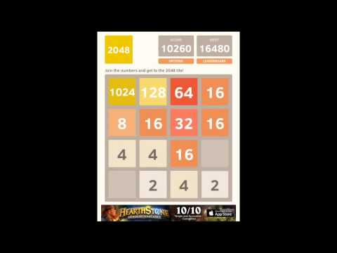 Winning / beating 2048 from start to finish in 2 minutes and 7 seconds (timelapse)