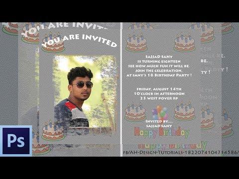Photoshop Tutorials I Design a Invitation Card in Adobe Photoshop CS6 2018 I Birthday, Wedding Etc.