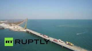 One step closer: Drone footage captures 1,000-metre bridge to Crimean peninsula