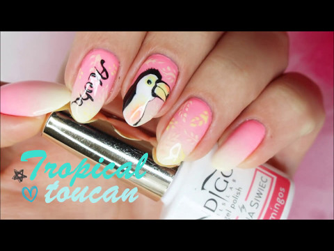 Tropical Toucan on Ombre Nails Nail Art