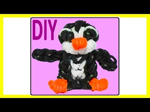 penguin charm  without a rainbow loom. With 2 forks! tutorial diy