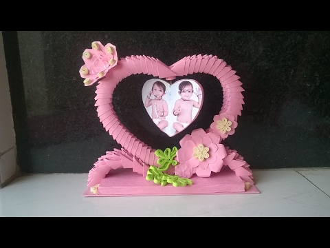 3d origami showpiece || how to make photo frame using paper