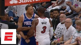 Dwyane Wade and Justin Anderson get into it during Game 3 of 76ers vs. Heat | ESPN