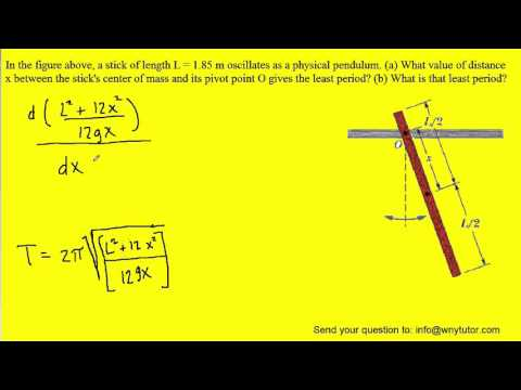 A stick of length L = 1.85 m oscillates as a physical pendulum. (a) What value of distance x between