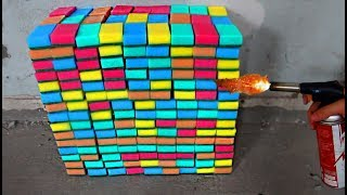 EXPERIMENT: What Happen if you set fire to 300 SPONGE