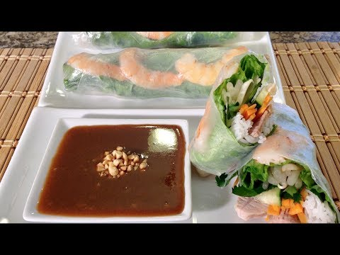 How To Make Vietnamese Summer Spring Rolls-Goi Cuon-Peanut Sauce-Asian Food Recipes