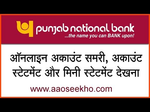 (Hindi) How to check account balance and view/download account statement, mini statement in PNB