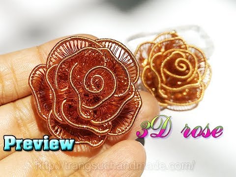 Preview 3D Rose from copper wire of Lan Anh Handmade