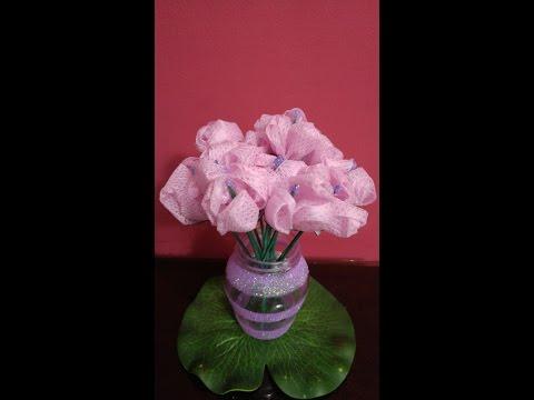 DIY Crafts - Home Decor - How to Make Fabric Flower Bouquet + Tutorial .