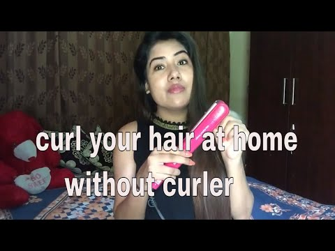 how to curl your hair at home without curler, curling iron with straightener DIY