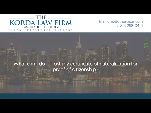 What can I do if I lost my certificate of naturalization for proof of citizenship?