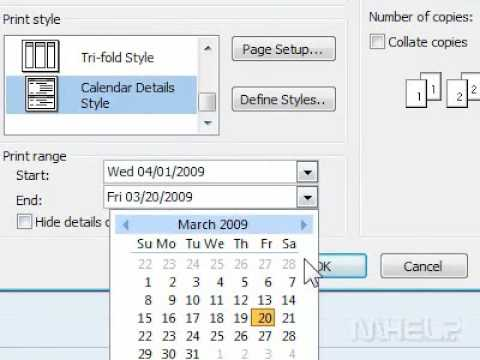 How to print a calendar in Outlook showing appointments and meetings