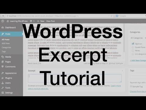 WordPress Excerpt Tutorial