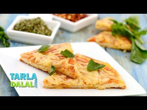 Pizza Margherita, How to make Veg Pizza Margherita at home by Tarla Dalal