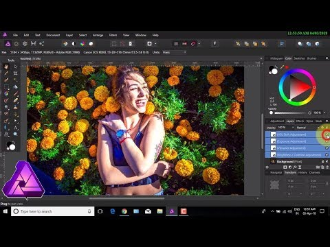How to use Affinity photo adjustment layer, HSL, Vibrance, colors adjustment