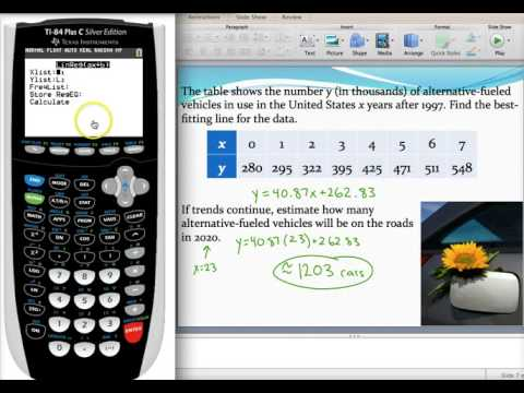 Finding a line of best fit using a graphing calculator