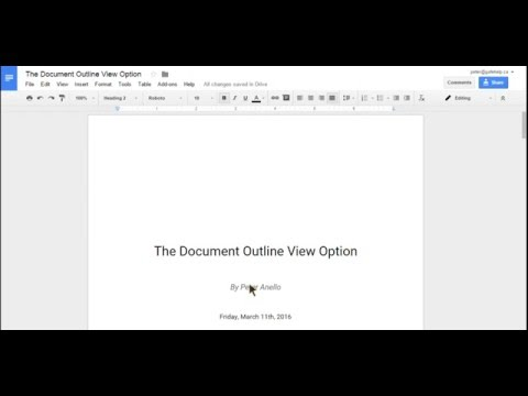 The Document Outline View Option in Google Docs