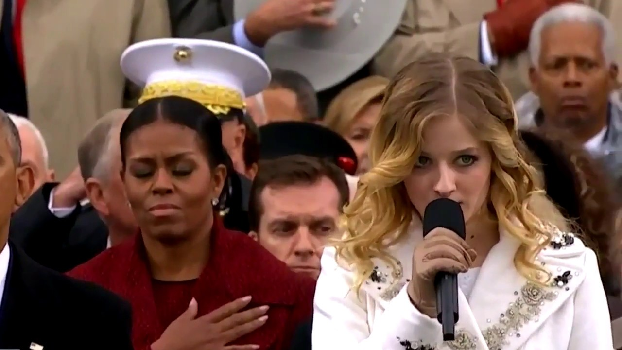 Jackie Evancho performing the National Anthem at the 2017 Presidential Inauguration