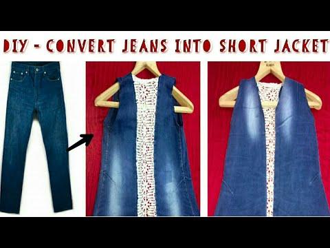 Convert/ Reuse/ Recycle Men's Old Jeans into Girl's Jacket/ Diy Girl's denim jacket