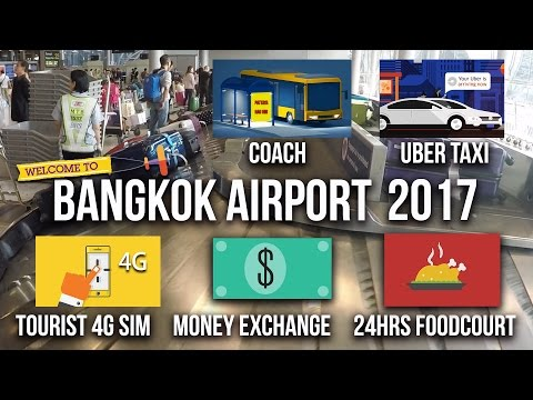 Suvarnabhumi Airport Bangkok Thailand 2017 ✈️ | Money Exchange | Tourist Sim | Uber Taxi | 泰國曼谷國際機場