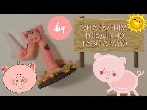 COMO FAZER VELA PORQUINHO | FAZENDINHA  PASSO A PASSO | VELA BISCUIT | CLAY DIY Cup n  Cakes Gourmet