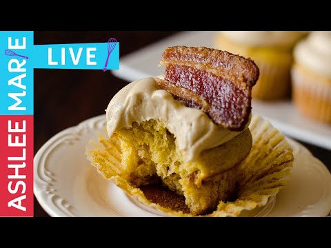 LIVE - How to make Maple Bacon Cupcakes - easy cupcake and frosting recipes
