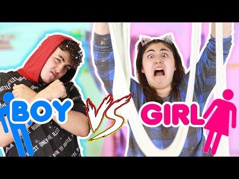 BOY VS GIRL WOOG GLUE SLIME ~ WHO CAN MAKE THE BEST WOOD GLUE FLUFFY SLIME   Slimeatory #354