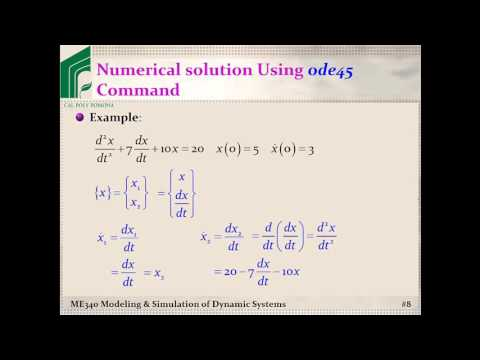 ME 340: Example, Solving ODEs using MATLAB's ode45 command