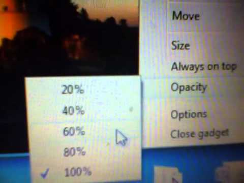 how to change opacity of a gadget in windows 7