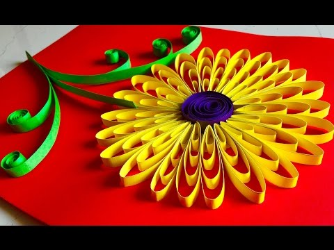 Quilling flowers tutorial - Sunflower | Paper Quelling wall hanging decoration - Arts and crafts
