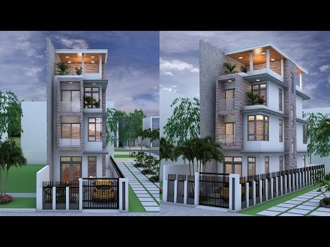 Narrow House 4 Stories House Plan Design SketchUp + Lumoin 6 render