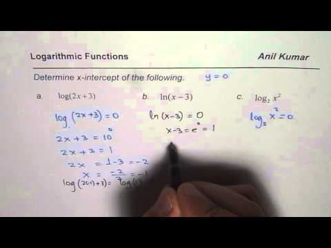 How to find x intercepts for Logarithmic Functions
