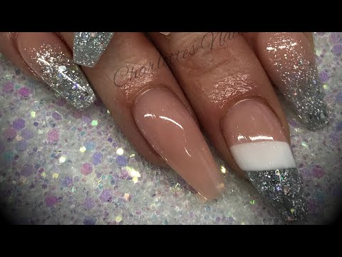 Acrylic nails - cutout design with glitter