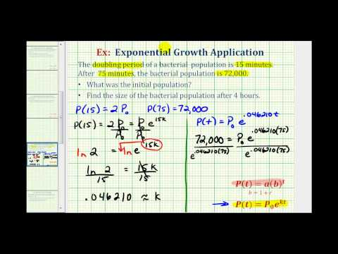 Exponential Growth App with Logs (y=ae^(kt)) - Find Initial Amount Given Doubling Time