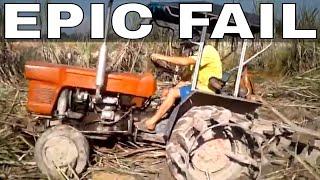 Old Tractor Stuck ~ Kubota epic fail ~ クボタ 立ち往生 ~ トラクターがついた ~  ファーム ~ tracter