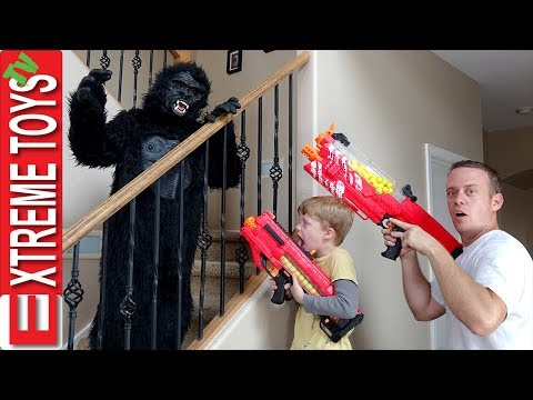 The Prank Wars Part Four! Ethan Vs. Cole Nerf Blaster Gorilla Costume Attack Madness!