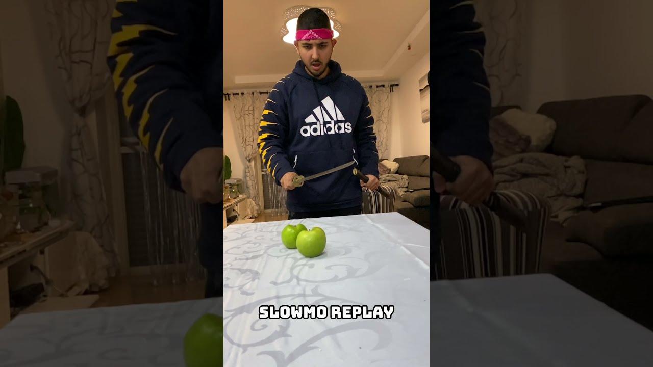 OMG! Ninja Trick to CUT an Apple! 😱 #shorts