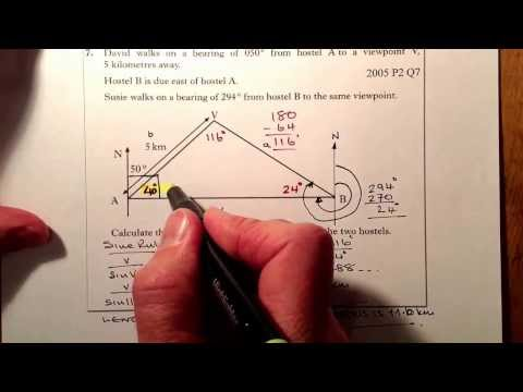 Bearings and Trigonometry Sine Rule National 5 Hwk Exam Practice
