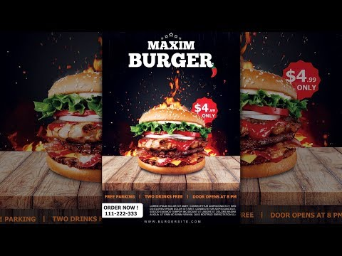 How to Design a Burger Restaurant Flyer / Poster in Photoshop