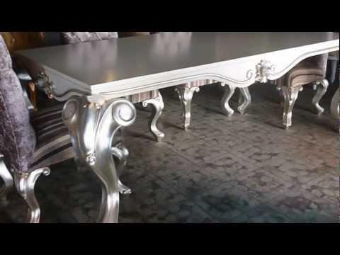 Tiara Dining Table Silver Leaf