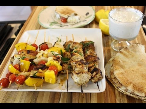 Greek Chicken Souvlaki with Grilled Haloumi & Vegetable Skewers