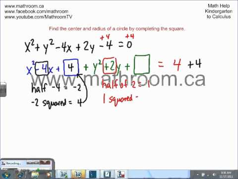 Find the center and radius of a circle by completing the square