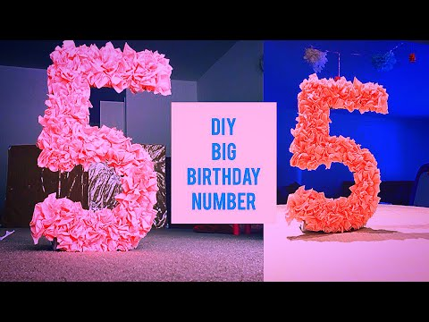 DYI Easy Big birthday number using tissue paper and cardboard/cereal box | Birthday Decorations