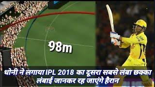 MS DHONI ने लगाया IPL 2018 का दूसरा सबसे लंबा छक्का, लंबाई जानकर होंगे हैरान   longest six by dhoni